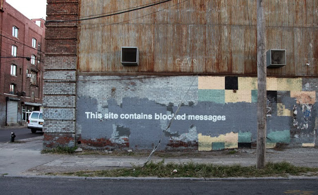 """This Site Contains Blocked Messages"" By Banksy For Better Out Than In Day 27 - New Street Piece By The British Artist On The Streets Of New York City. 1"