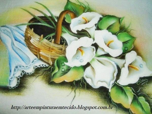 Pintura em Tecido Flores copo de leite
