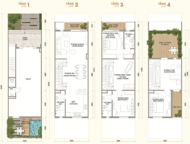 Mặt bằng thiết kế Shophouse Vinhomes Thăng Long loại diện tích nhỏ