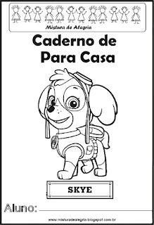 Capa para caderno Patrulha Canina
