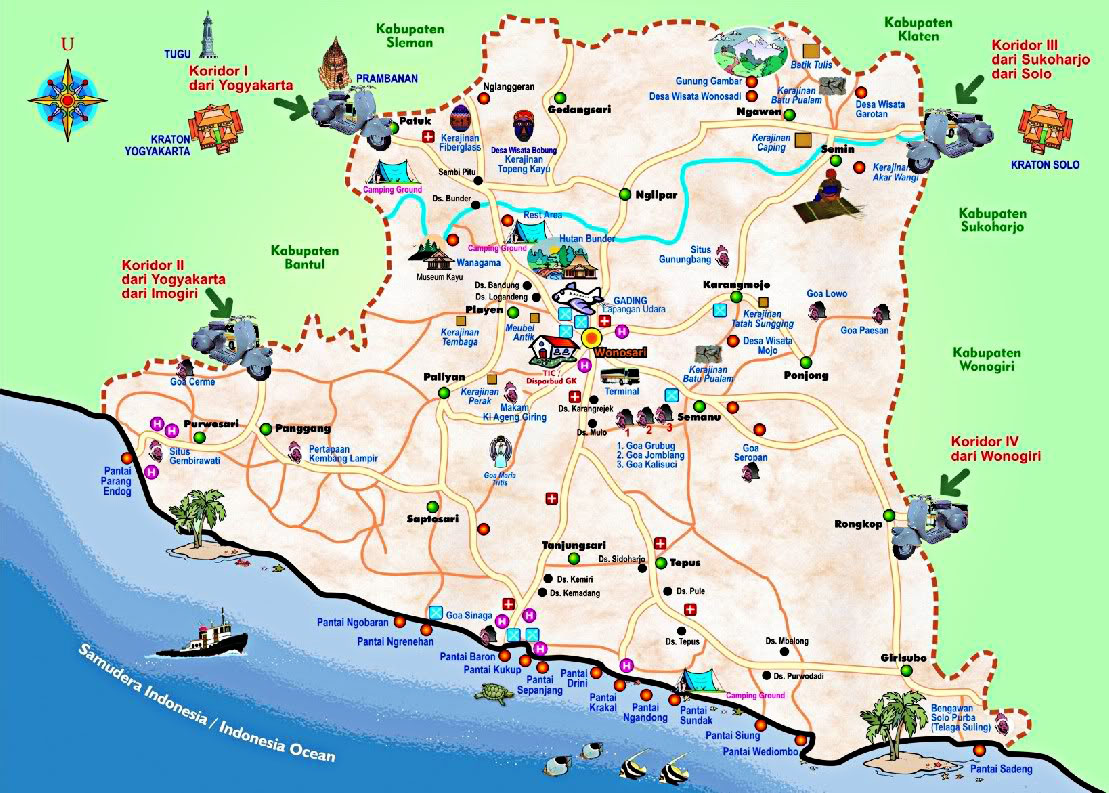 peta menuju pantai sepanjang di gunungkidul