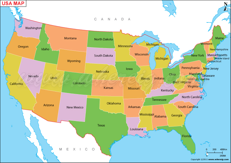 map o the united states