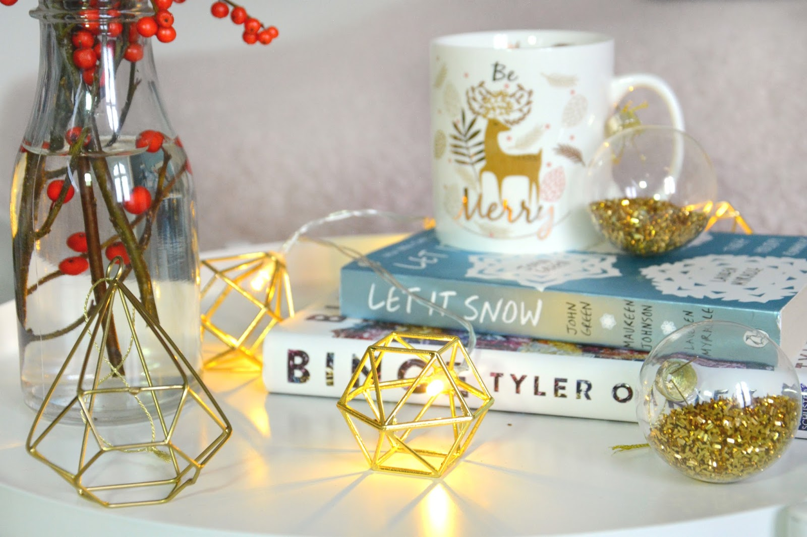 Binge Tyler Oakley, John Green Let It Snow; Baubles; Geode Fairy Lights, Christmas Mug