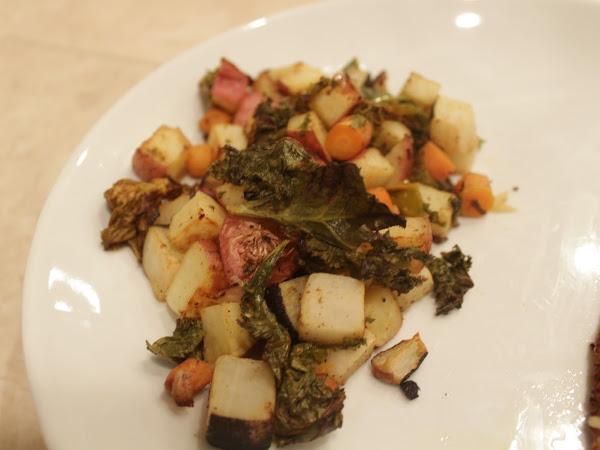 New ways with new produce (Dijon roasted Black aka Nero tondo radishes with potatoes and kale)