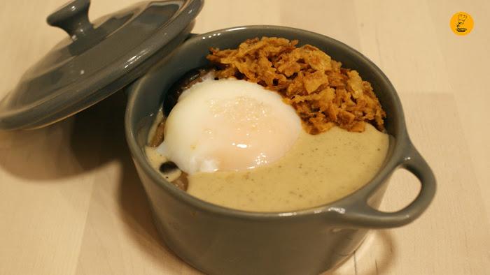 Huevo de corral cocinado a 65º con espuma trufada y boletus Bizikletak Madrid restaurante