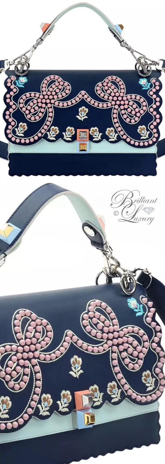 Brilliant Luxury  ♦Fendi Kan I Studded Bows Top-Handle Shoulder Bag #blue