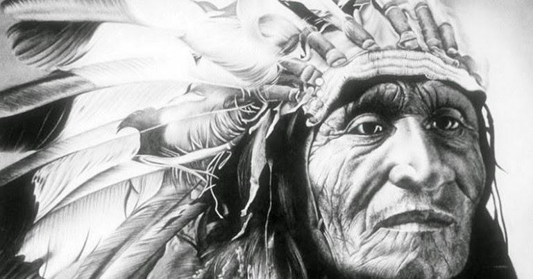 Pintura Moderna Y Fotografía Artística Dibujo De Indio Piel Roja A