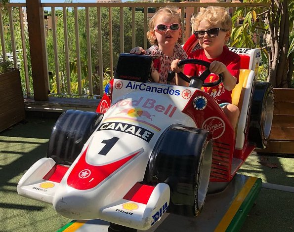 Princess Charlene of Monaco shared on her Instagram account a photo of her twins Prince Jacques and Princess Gabriella. Monaco Grand Prix 2018