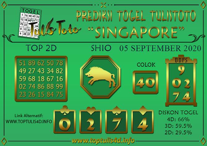 Prediksi Togel SINGAPORE TULISTOTO 05 SEPTEMBER 2020