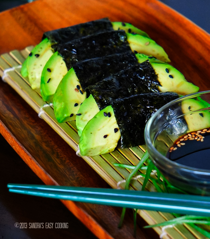 Easy recipe for delicious Avocado wrapped with Nori {dry Seaweed}