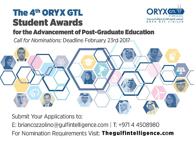 PR | ORYX GTL Opens Nominations For Esteemed Post-Graduate Student Awards in Qatar