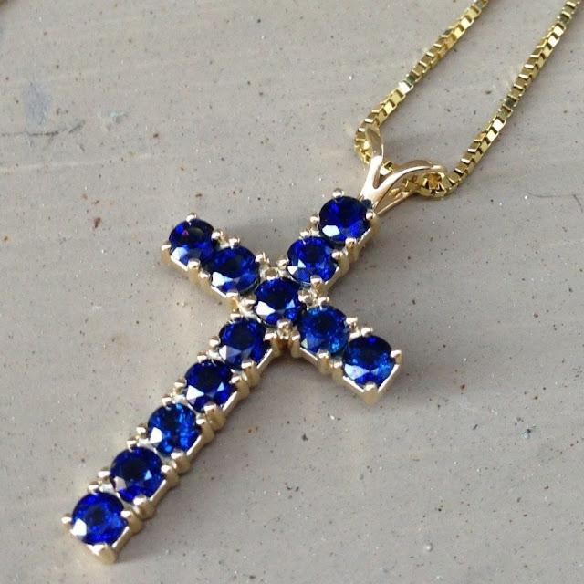 Blue Sapphire Christian Cross