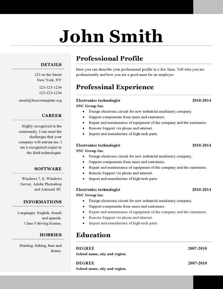 group resume template