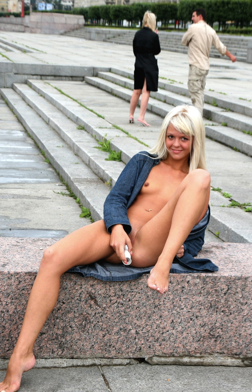 Girl with dildo in pussy in public 12