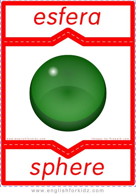 Sphere in Spanish, English-Spanish flashcard