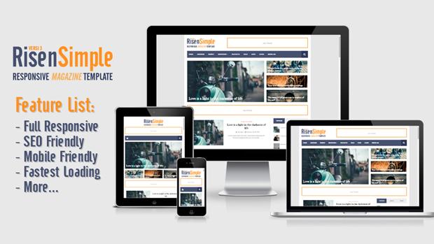 RisenSimple - Responsive Magazine Blogger Template Premium
