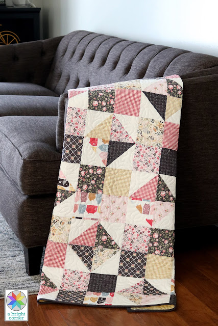 Four Patch Spin quilt made by Andy of A Bright Corner using Gingham Farmhouse fabrics