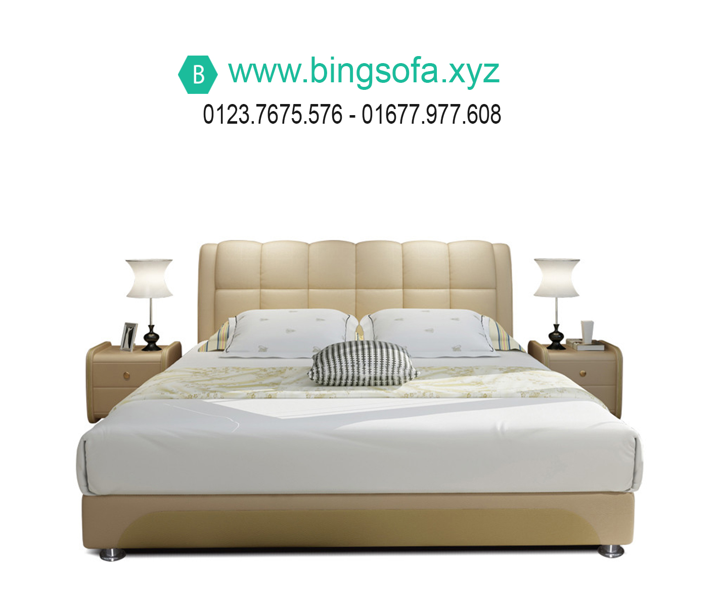 Mẫu giường ngủ bọc nệm da hiện đại GN16
