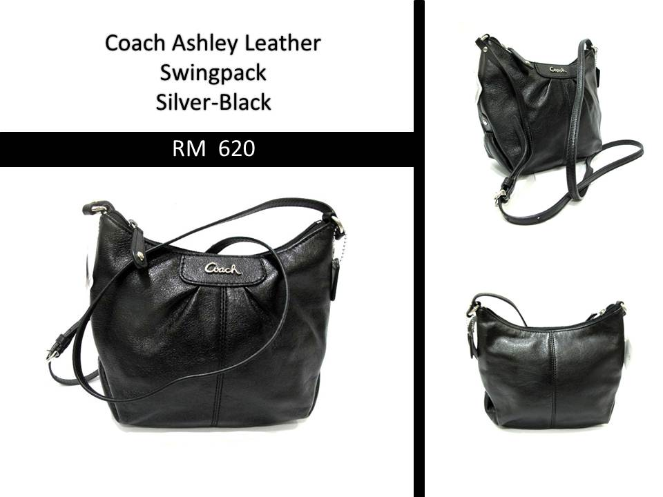 Kajang Premium Outlet  New  Coach Ashley Leather Swingpack (silver ... d3459ff969e0a