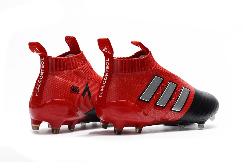 a81687f4aca7 Designed to offer players a clean surface, the black and red Adidas Ace 17+  ...