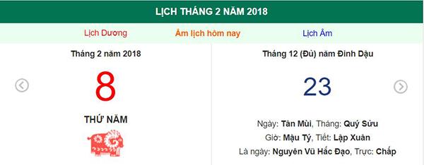 Xem lịch Thứ Năm ngày 8 tháng 2 năm 2018