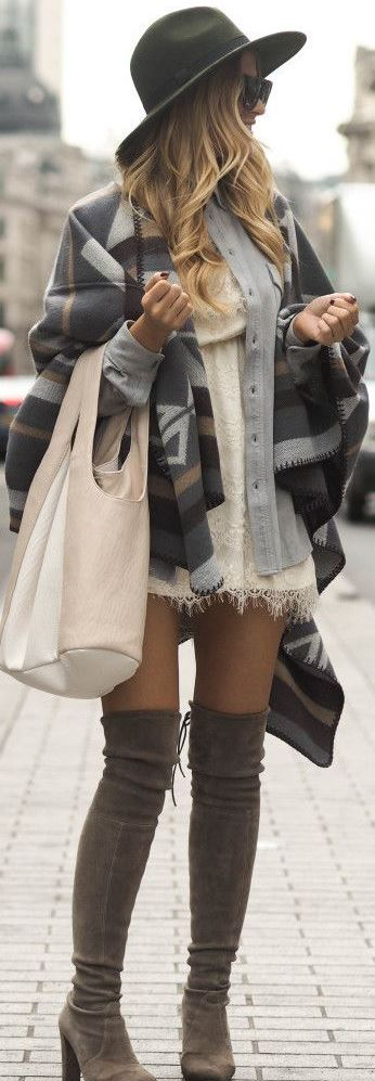 awesome fall outfit : bag + poncho + hat + lacer dress + over the knee boots