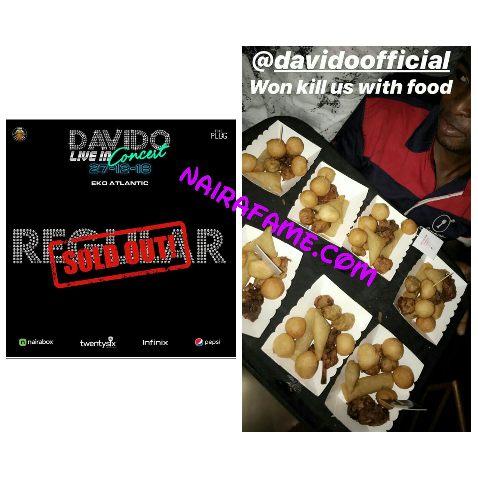 Eko Cuisine Davido Entertains Fans With Snacks And Chicken At His Concert In
