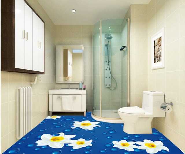 3D bathroom flooring with simple floral design