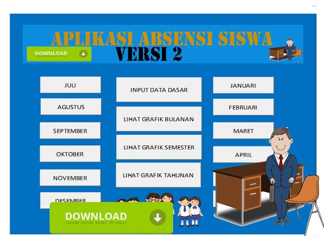 Aplikasi Otomatis Absensi Siswa Versi 2 Format Excel