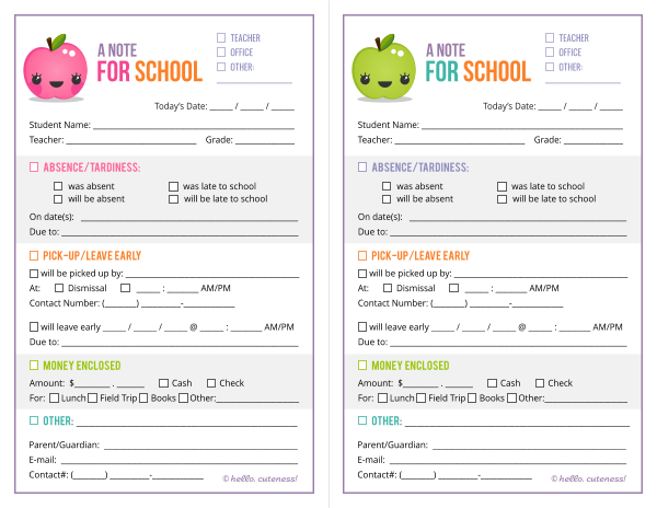 Mommy and things free school note printable for Absent notes for school templates