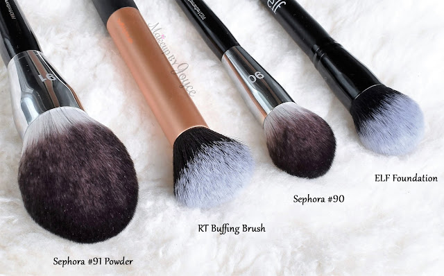 Sephora Collection Pro Featherweight Brush Comparison Review #90 Complexion ELF Selfie Ready Foundation Dupe