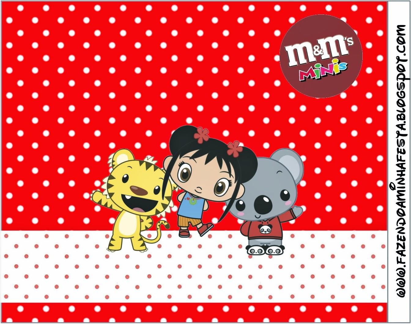 Etiqueta M&M de Ni Hao Kai Lan para imprimir gratis.