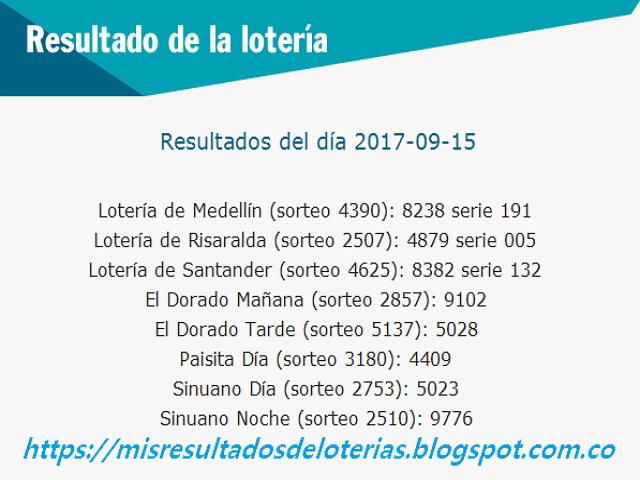 Como jugo la lotería anoche - Resultados diarios de la lotería y el chance - resultados del dia 15-09-2017