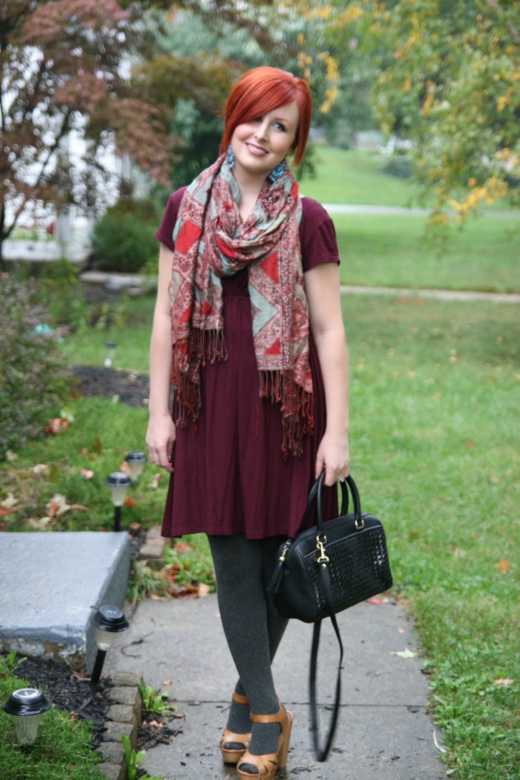 Thrift And Shout: Cute Outfit Of The Day: Burgundy Dress