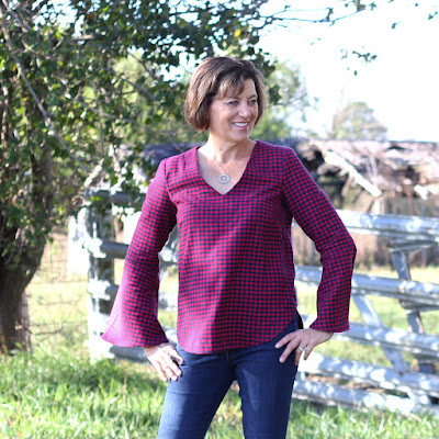 Megan Nielsen Dove in navy and red plaid all from Indiesew