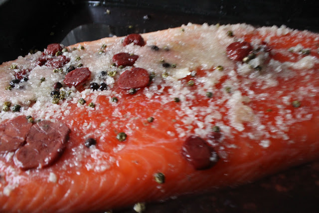 Pickled cherry cured salmon