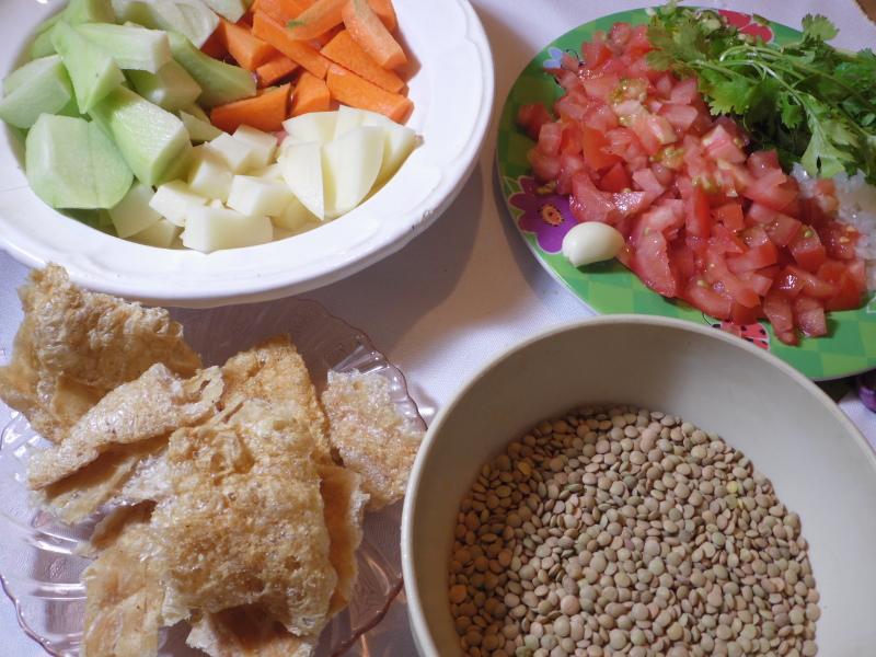 Lentejas con verduras para el desayuno