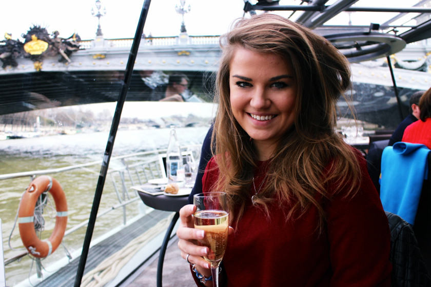 Sailing down the Seine, drinking champagne in Paris, France.