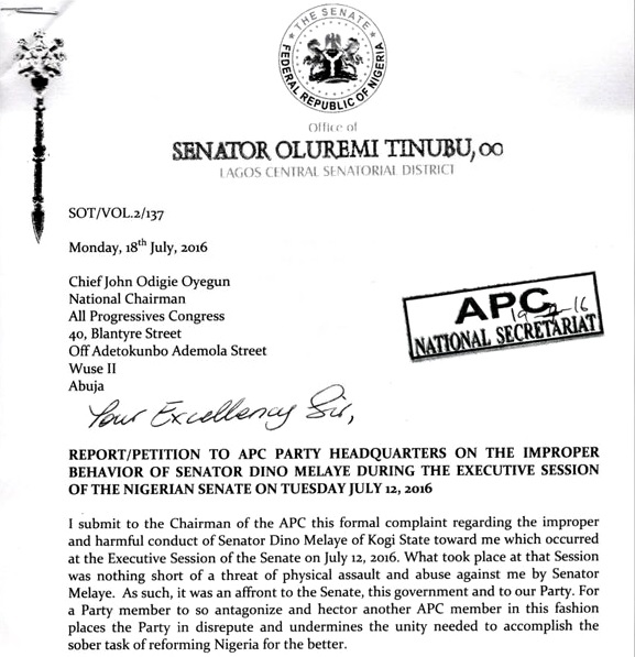 Tinubu Writes National Assembly & APC Leadership Asking for Sanctions Against Dino Melaye