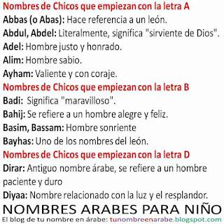 Nombres arabes de niño