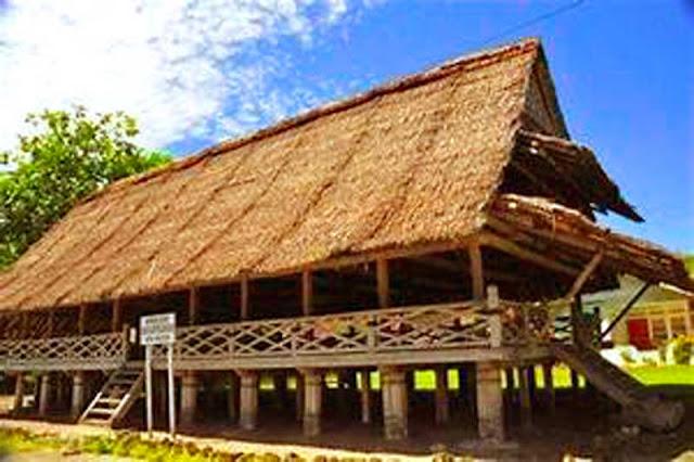 Gambar Rumah adat Maluku tampak dari samping kanan depan