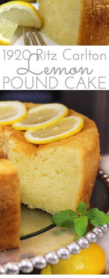 1920 Famous Ritz Carlton Lemon Pound Cake Recipe