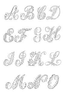 font alphabet images floral decorative collage sheet free