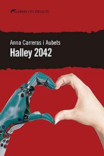 Portada de Halley 2042 de Anna Carreras i Aubet on surt dues mans, una d'un robot fent el símbol d'un cor