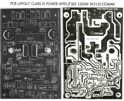 PCB Power Class-D 1500W IR2110 CD4049 Amplifier