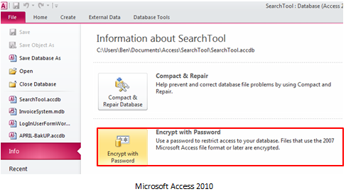 All About Database Recovery: Security Features of MS Access 2010