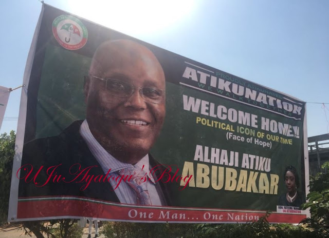 PDP Welcomes Atiku with Huge Banner at their Headquarters in Abuja (Photos