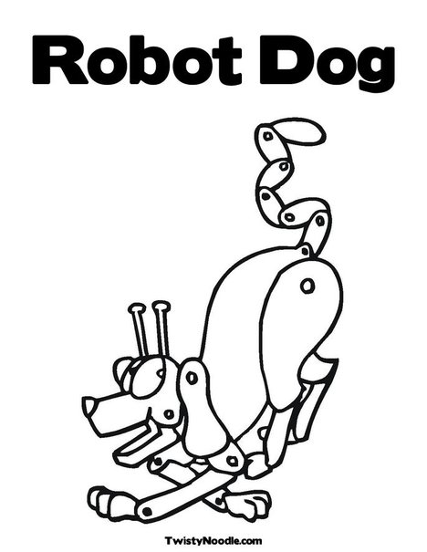 robot dog printable coloring sheet for kids. Black Bedroom Furniture Sets. Home Design Ideas