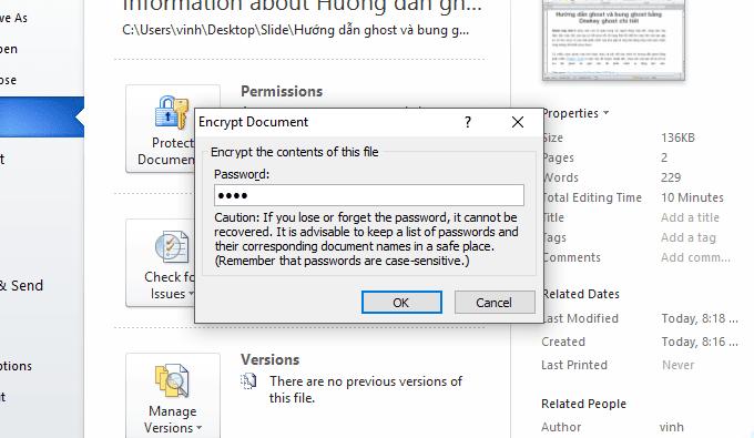đặt mật khẩu cho file word