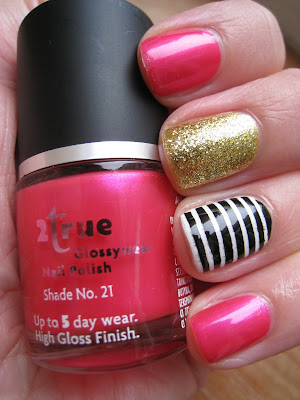 2True-Barry-M-pink-black-white-and-gold-glitter-manicure